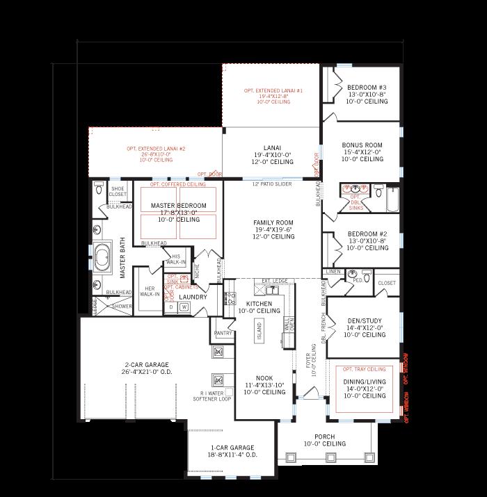 Base floorplan of Carlton - Craftsman - 2,835 sqft, 3 Bedroom, 2.5 Bathroom - Cardel Homes Tampa