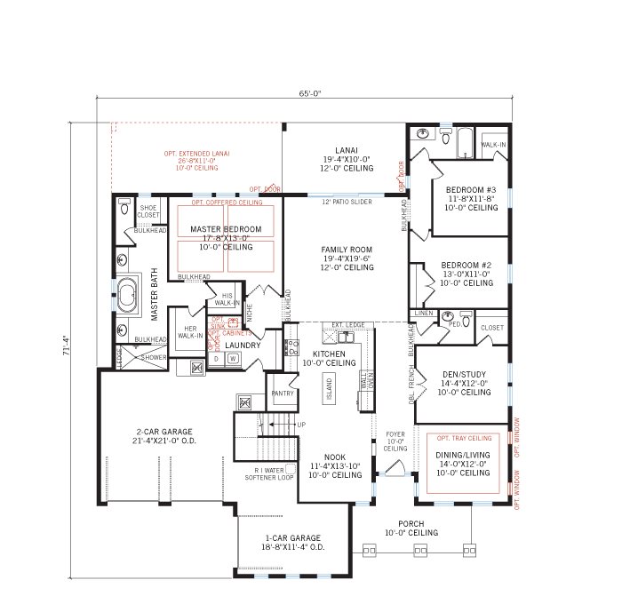 Base floorplan of Carlton 2 - Tuscan - 3,515 - 3,780 sqft, 4 Bedroom, 3.5 Bathroom - Cardel Homes Tampa