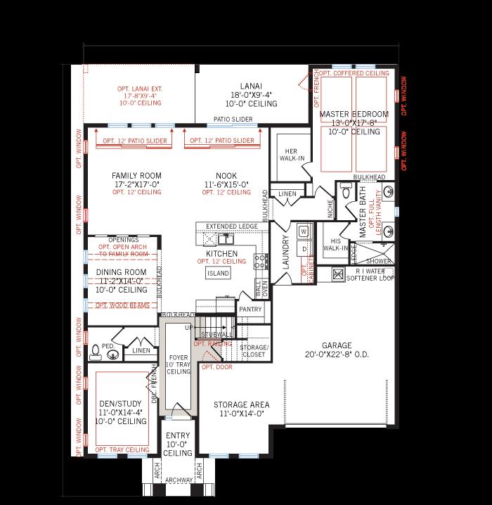 Base floorplan of Avalon 2 Renderings - Tuscan - 2,753 - 3,350 sqft, 3 - 6 Bedroom, 2.5 - 4 Bathroom - Cardel Homes Tampa