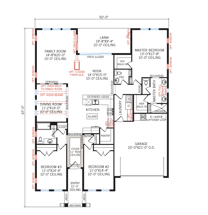 Base floorplan of Avalon Renderings - Neo-Classical - 2,256 - 2,272 sqft, 3 - 4 Bedroom, 2.5 - 3 Bathroom - Cardel Homes Tampa