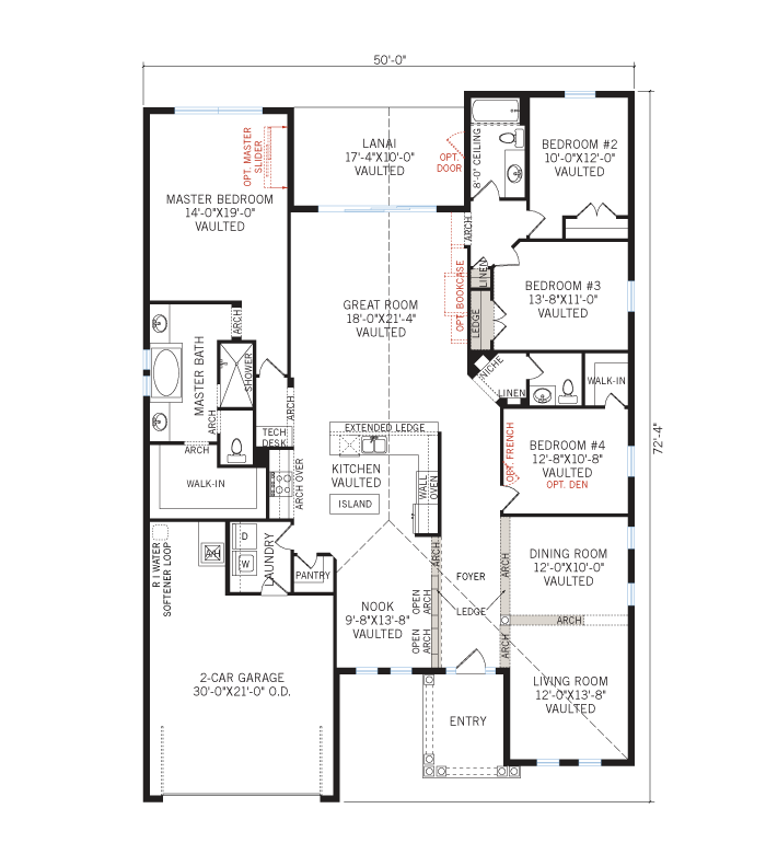 Base floorplan of Cortina SE Renderings - Tuscan - 2,646 - 2,684 sqft, 4 Bedroom, 2.5 - 3 Bathroom - Cardel Homes Tampa