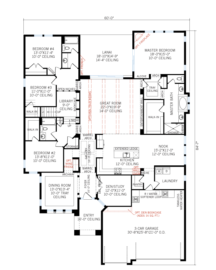 Base floorplan of Dolcetto 2 - Italian Villa - 3,792 sqft, 4 Bedroom, 3.5 Bathroom - Cardel Homes Tampa