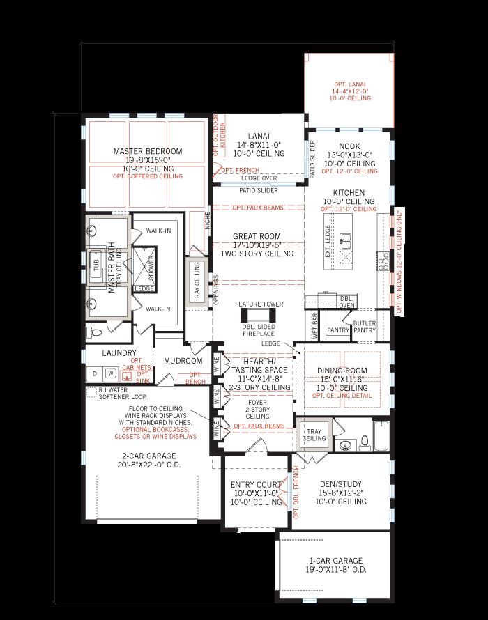 Base floorplan of Palazzo Bella - Tuscan - 2,524 - 2,818 sqft, 1 - 4 Bedroom, 2 - 4 Bathroom - Cardel Homes Tampa