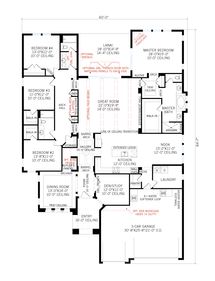 Base floorplan of Dolcetto Renderings - Tuscan - 3,233 sqft, 4 Bedroom, 3 Bathroom - Cardel Homes Tampa