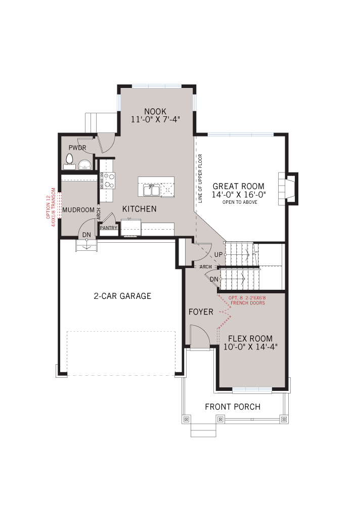 Base floorplan of Rydal - A2 Modern Urban - 1,972 sqft, 3 Bedroom, 2.5 Bathroom - Cardel Homes Ottawa