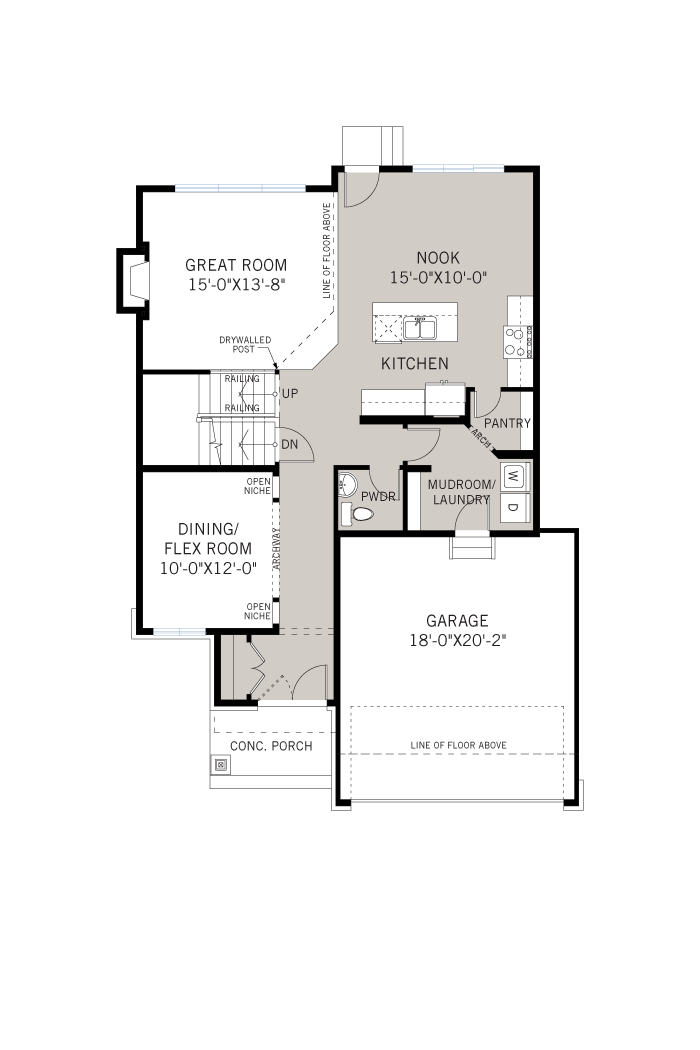 Base floorplan of Rideau - A2 Modern Prairie - 2,200 sqft, 4 Bedroom, 2.5 Bathroom - Cardel Homes Ottawa