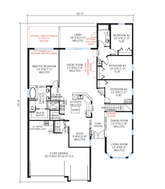 Base floorplan of Kingfisher 3  LWR - Elevation C - 2,983 sqft, 4 Bedroom, 2.5 Bathroom - Cardel Homes Tampa