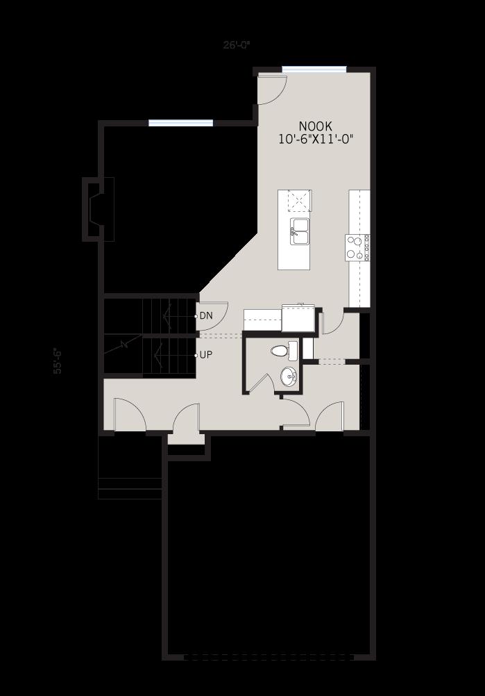 Base floorplan of Orleans 3 - Eichler F1 - 2,014 sqft, 3 Bedroom, 2.5 Bathroom - Cardel Homes Calgary