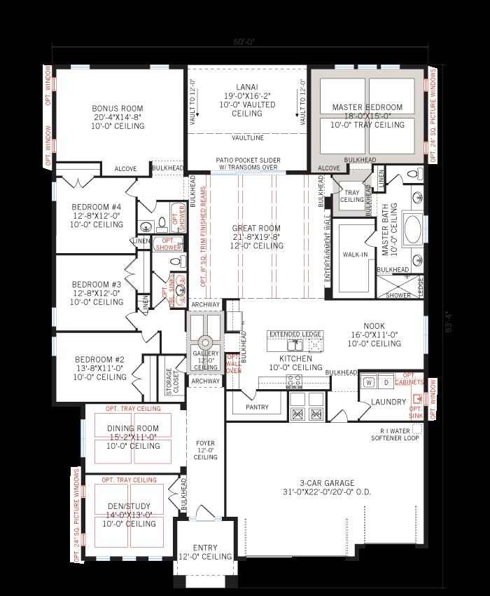 Base floorplan of Antigua - Mediterranean - 3,547 - 3,551 sqft, 4 - 5 Bedroom, 3 Bathroom - Cardel Homes Tampa