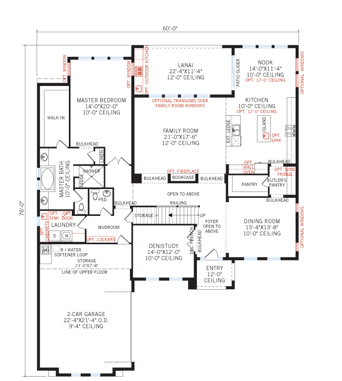 Base floorplan of Bonaire - Mediterranean - 3,756 - 3,897 sqft, 4 - 5 Bedroom, 2.5 - 3.5 Bathroom - Cardel Homes Tampa