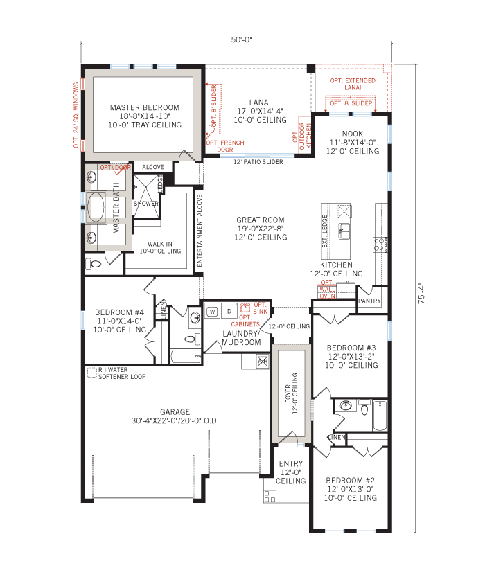Base floorplan of Endeavor 3 FHR - Tuscan with Option #5 - 2,500 - 3,108 sqft, 4 - 5 Bedroom, 3 - 4 Bathroom - Cardel Homes Tampa