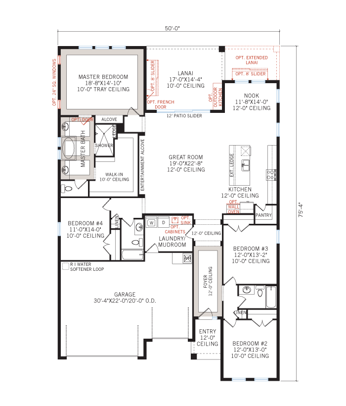 Base floorplan of Endeavor 3 CCE - Tuscan with Option #5 - 2,500 - 3,108 sqft, 3 - 5 Bedroom, 3 - 4 Bathroom - Cardel Homes Tampa