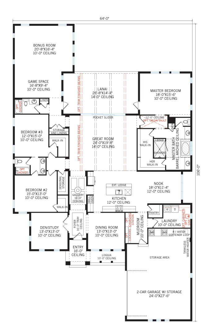 Base floorplan of Dolcetto 3 - Tuscan - 3,807 sqft, 3 Bedroom, 3 Bathroom - Cardel Homes Tampa