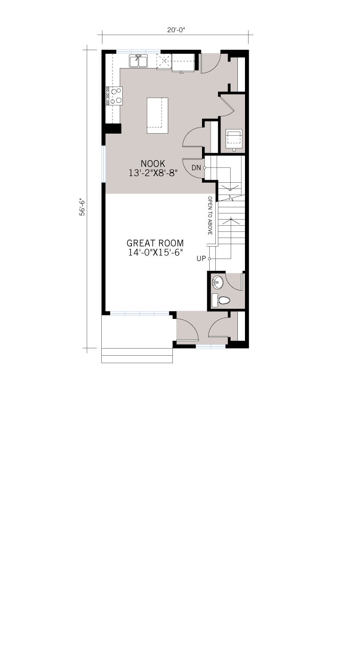 Base floorplan of Denim - Modern Prairie F1 - 1,538 sqft, 3 Bedroom, 2.5 Bathroom - Cardel Homes Calgary