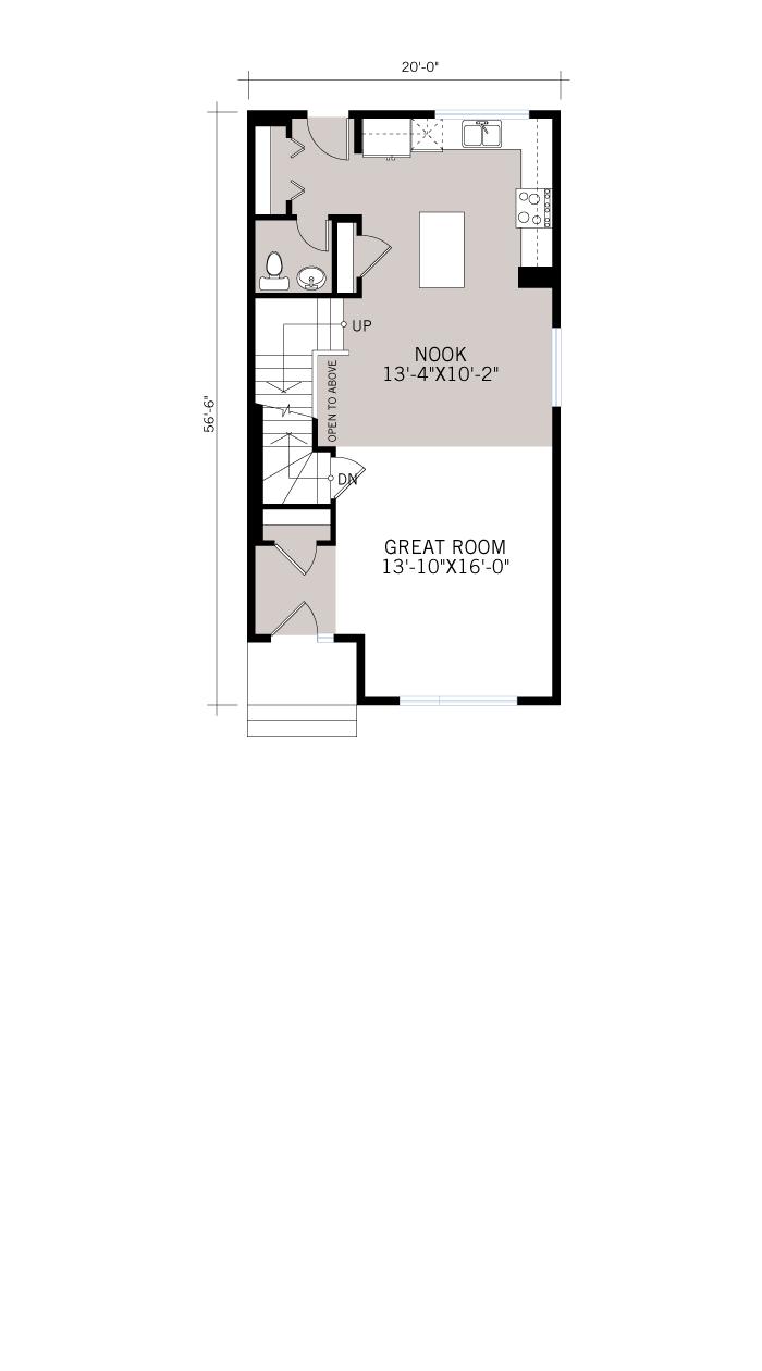 Base floorplan of Hadlow - Modern Prairie F4 - 1,499 sqft, 3 Bedroom, 2.5 Bathroom - Cardel Homes Calgary
