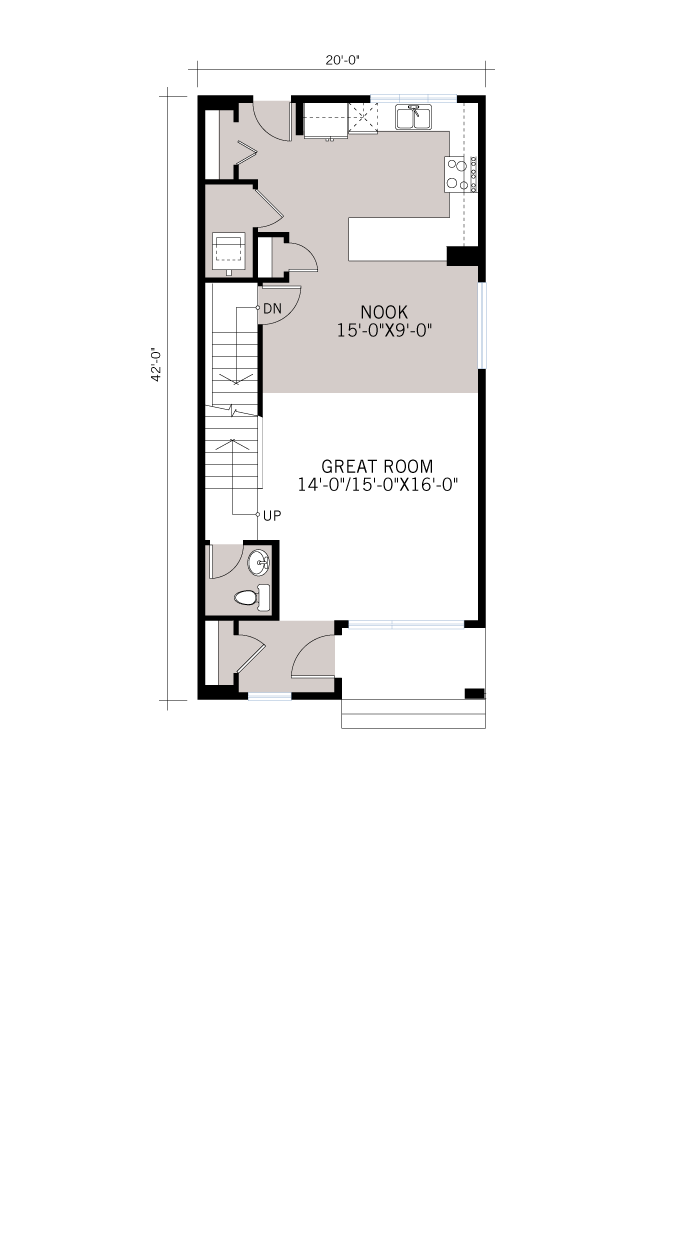 Base floorplan of Tarmon - CB-Craftsman C1 - 1,620 sqft, 3 Bedroom, 2.5 Bathroom - Cardel Homes Calgary
