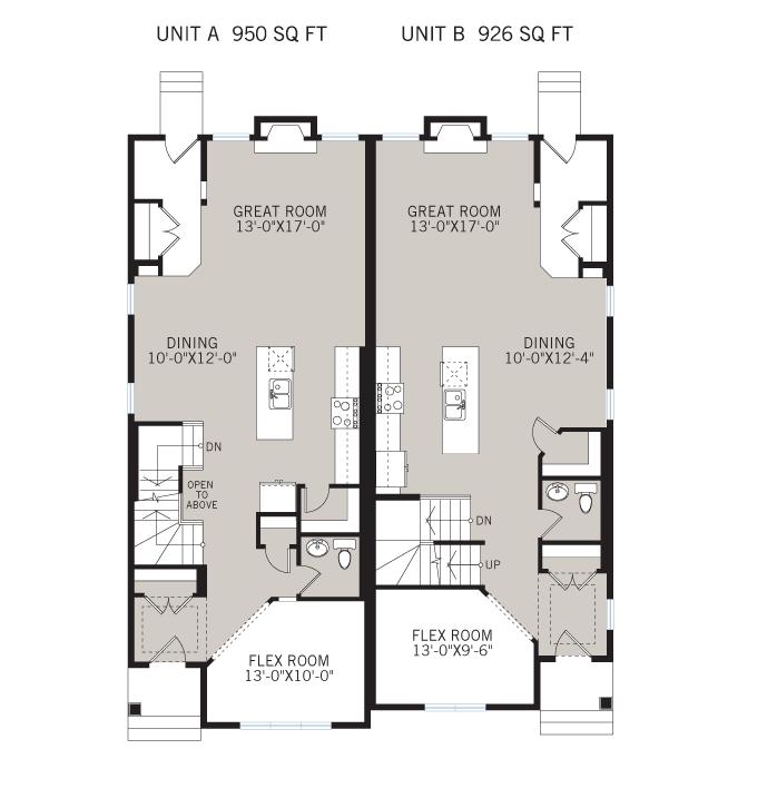 Base floorplan of Solstice A+B - Urban - 1,883 sqft, 3 Bedroom, 2.5 Bathroom - Cardel Homes Calgary