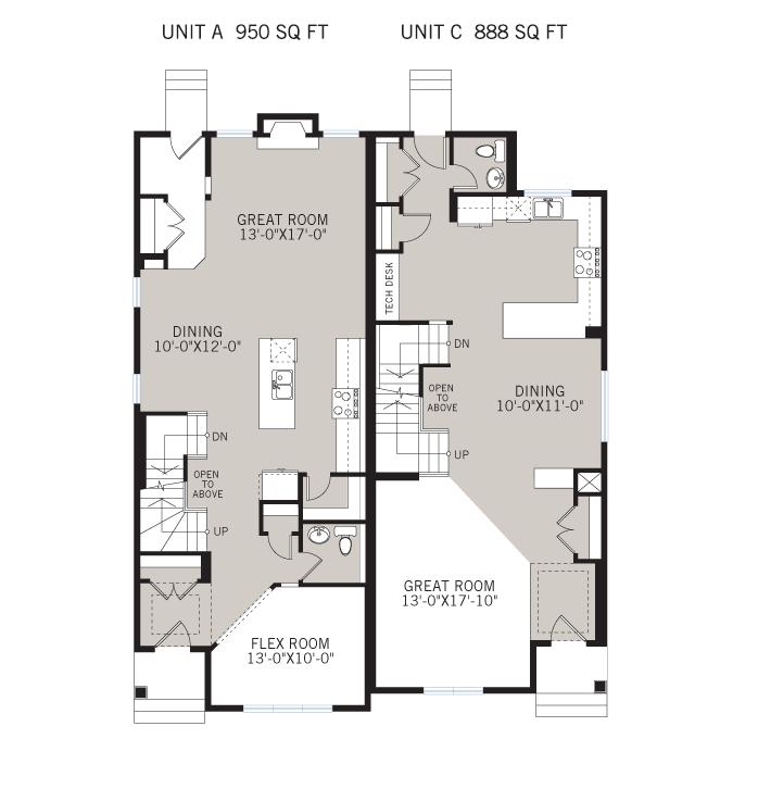 Base floorplan of Solstice A+C - Urban - 1,883 sqft, 3 Bedroom, 2.5 Bathroom - Cardel Homes Calgary