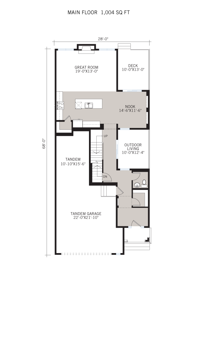 Base floorplan of Savin - Shingle S1 - 2,589 sqft, 3 - 4 Bedroom, 2.5 Bathroom - Cardel Homes Calgary
