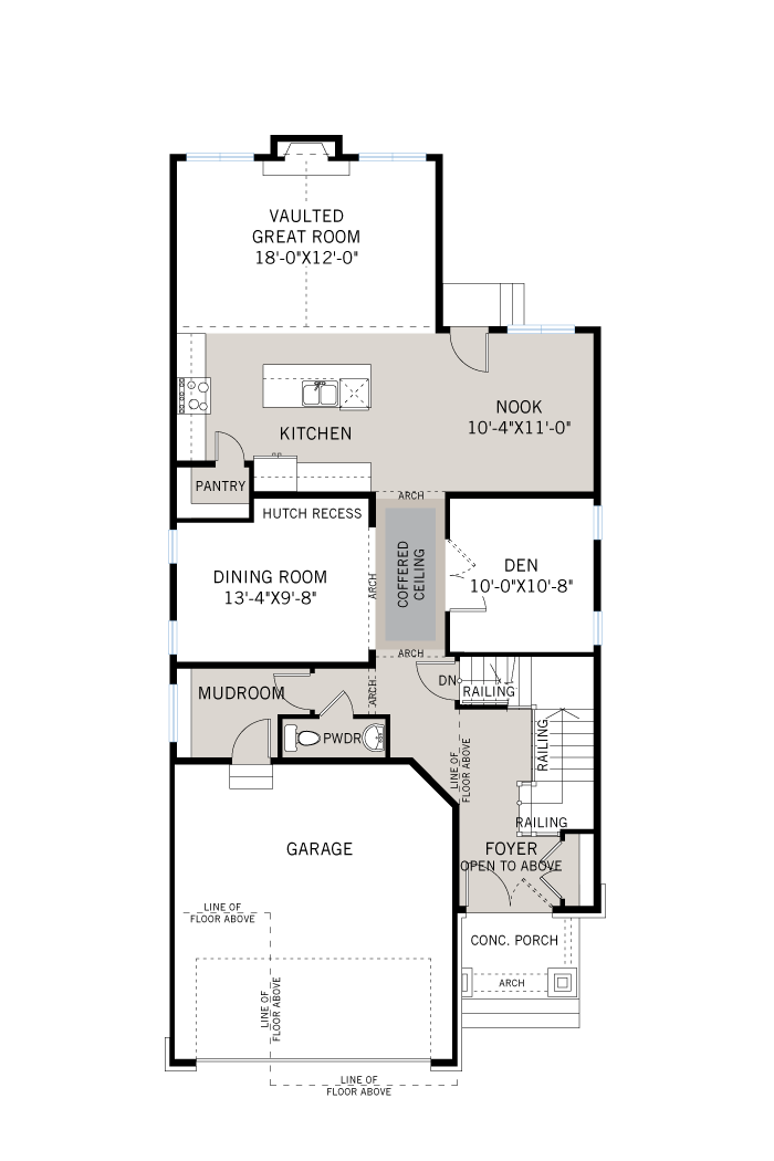 Base floorplan of Bedington - R9 Modern Prairie - 2,549 sqft, 4 Bedroom, 2.5 Bathroom - Cardel Homes Ottawa
