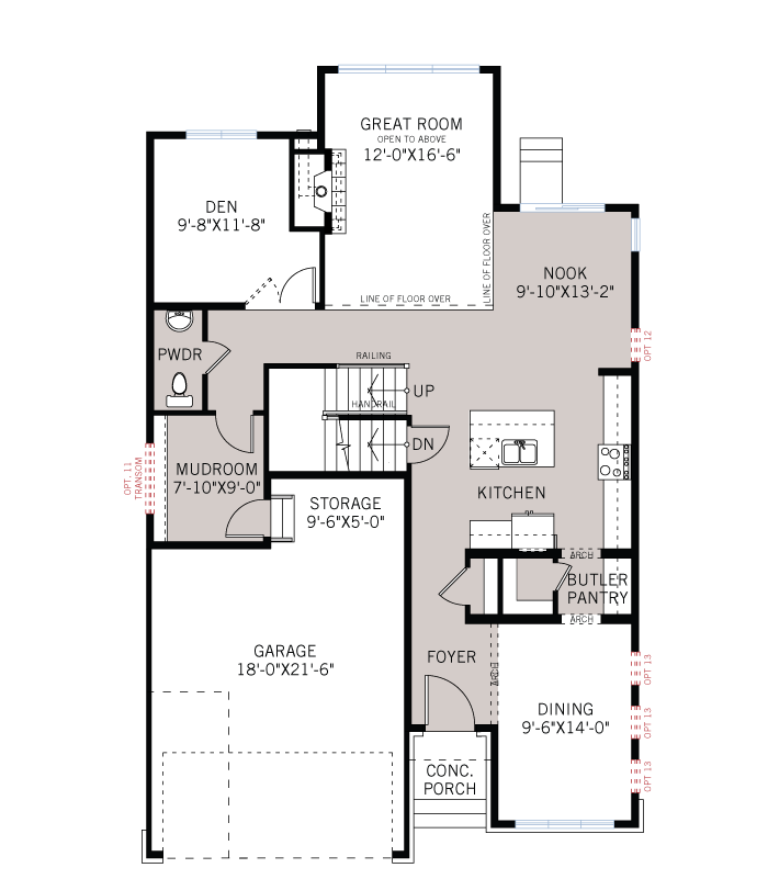 Base floorplan of Miraval 2 - R9 Modern Prairie - 2,778 sqft, 4 Bedroom, 2.5 Bathroom - Cardel Homes Ottawa