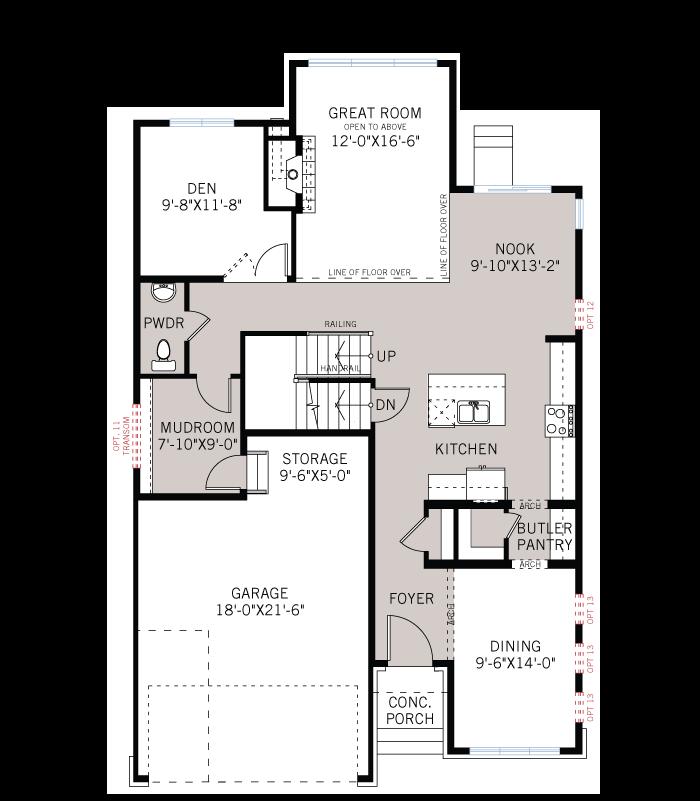 Base floorplan of Miraval 2 - R9 Modern Prairie - 2,778 sqft, 4 Bedroom, 2.5 Bathroom - Cardel Homes Ottawa