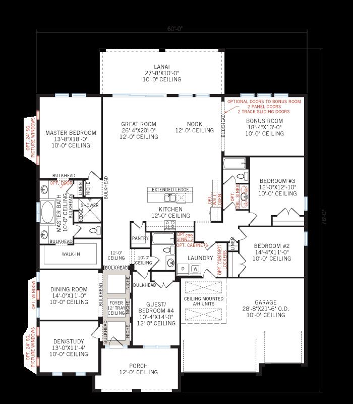 Base floorplan of Grand Cayman - Tuscan - 3,032 - 3,432  sqft, 4 - 5 Bedroom, 3 - 4 Bathroom - Cardel Homes Tampa