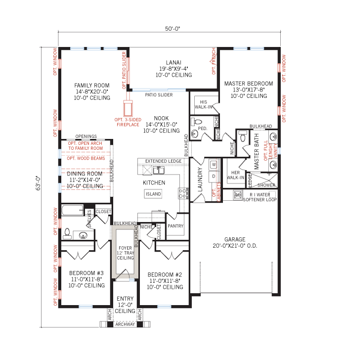 Base floorplan of Avalon CW - Neo-Classical - 2,200 - 2,216 sqft, 3 - 4 Bedroom, 2.5 - 3 Bathroom - Cardel Homes Tampa
