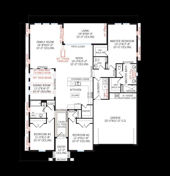 Base floorplan of Avalon CW - Neo-Classical - 2,200 - 2,216 sqft, 3 - 4 Bedroom, 2.5 - 3 Bathroom - Cardel Homes Tampa