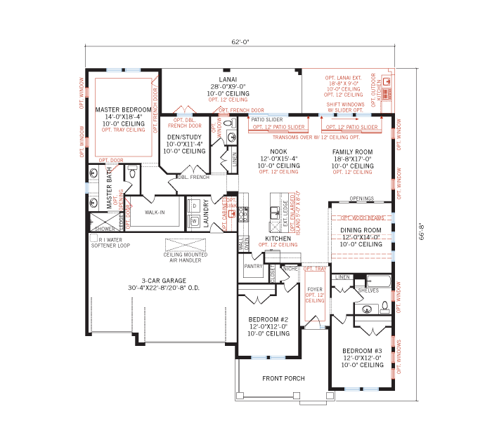 Base floorplan of Fairwind - Island Coastal - 2,482 - 2,710 sqft, 3 - 4 Bedroom, 2.5 - 3 Bathroom - Cardel Homes Tampa