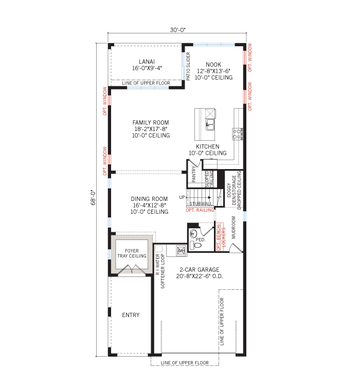 Base floorplan of Maple - Traditional - 2,861 - 3,009 sqft, 4 Bedroom, 2.5-3.5 Bathroom - Cardel Homes Tampa
