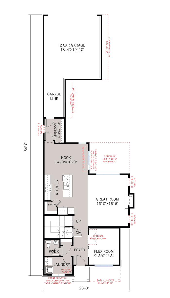 Base floorplan of Dunhill - A3 Elevation - 2,016 sqft, 4 Bedroom, 2.5 Bathroom - Cardel Homes Ottawa
