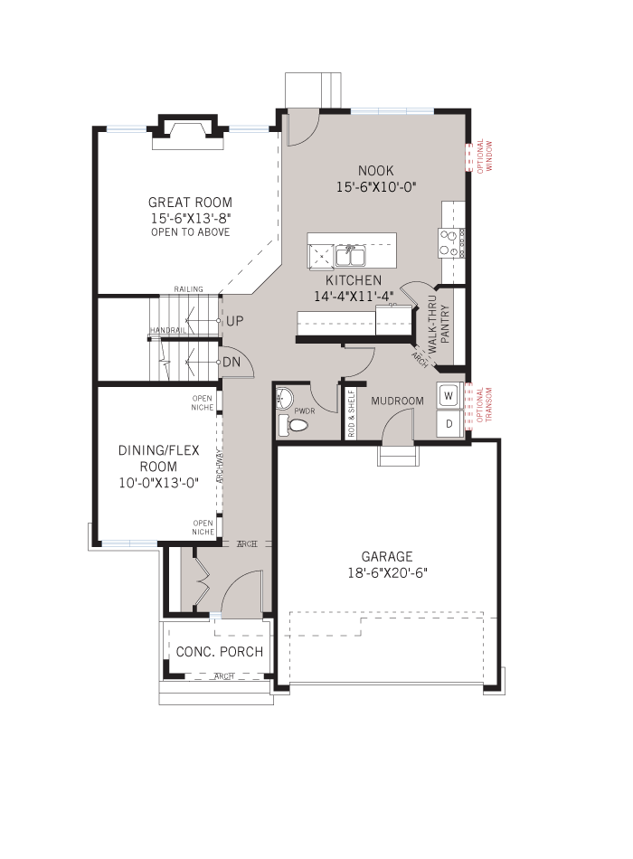 Base floorplan of Devlyn - R9 Modern Urban - 2,259 sqft, 4 Bedroom, 2.5 Bathroom - Cardel Homes Ottawa
