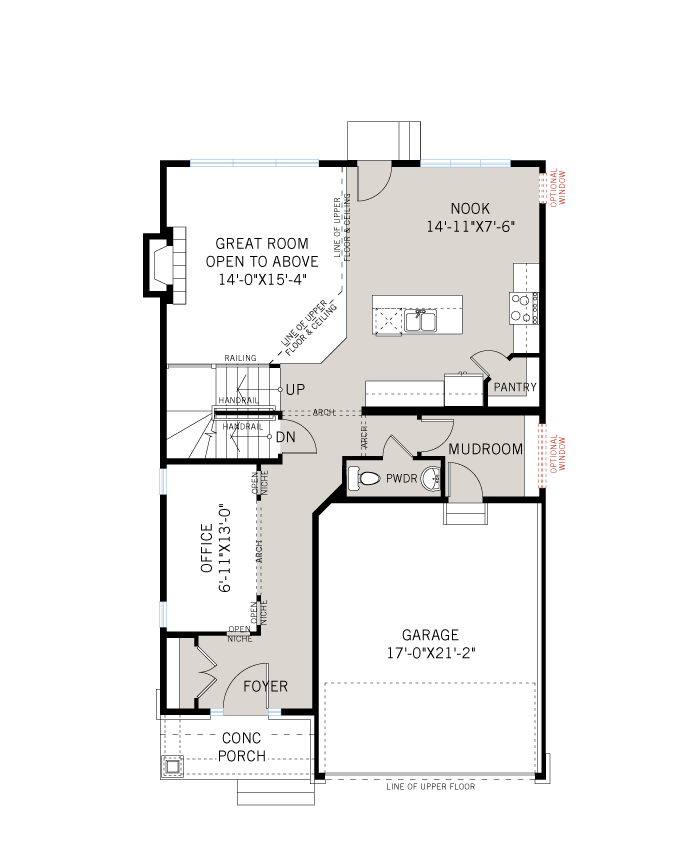 Base floorplan of Davenport - R8 Canadiana - 2,220 sqft, 4 Bedroom, 2.5 Bathroom - Cardel Homes Ottawa