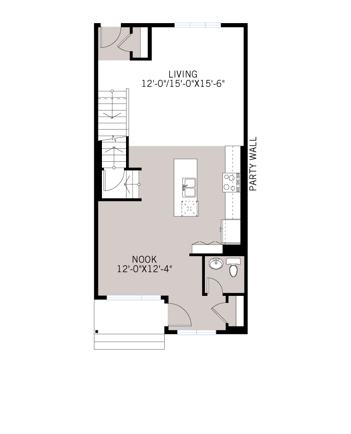 Base floorplan of The INDIGO 2 - Urban Farmhouse A2 - 1,534 sqft, 3 Bedroom, 2.5 Bathroom - Cardel Homes Calgary