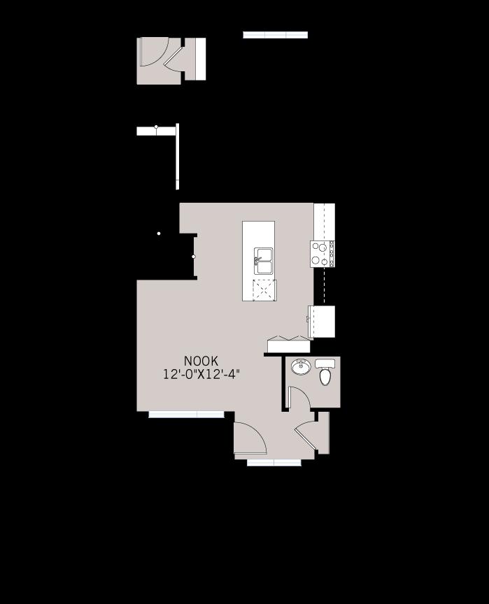 Base floorplan of The INDIGO 2 - Urban Farmhouse A2 - 1,534 sqft, 3 Bedroom, 2.5 Bathroom - Cardel Homes Calgary