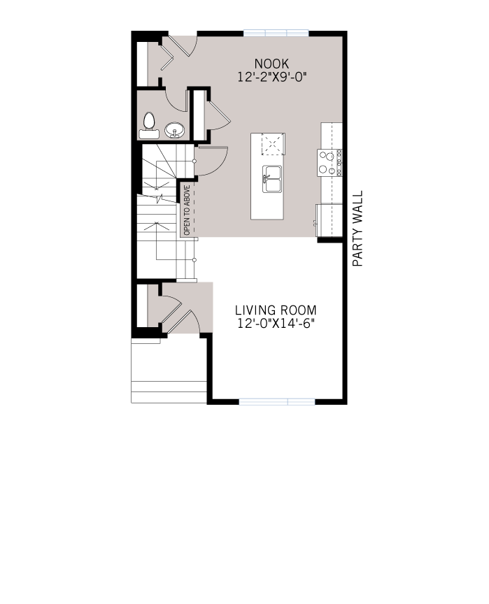 Base floorplan of The COBALT 2 - Urban Prairie A6 - 1,340 sqft, 3 Bedroom, 2.5 Bathroom - Cardel Homes Calgary