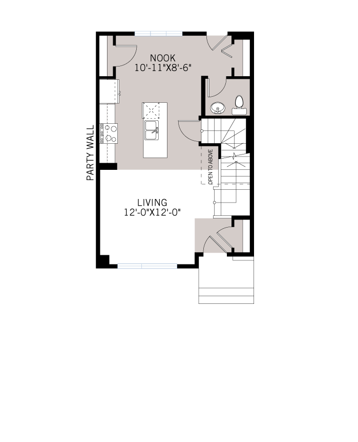 Base floorplan of The SOHO 3 - Urban Prairie A6 - 1,201 sqft, 3 Bedroom, 2.5 Bathroom - Cardel Homes Calgary