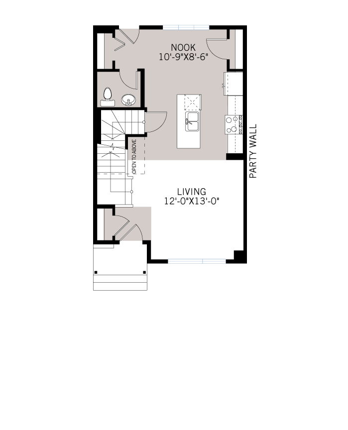 Base floorplan of The SOHO 2 - Urban Prairie A6 - 1,203 sqft, 3 Bedroom, 2.5 Bathroom - Cardel Homes Calgary