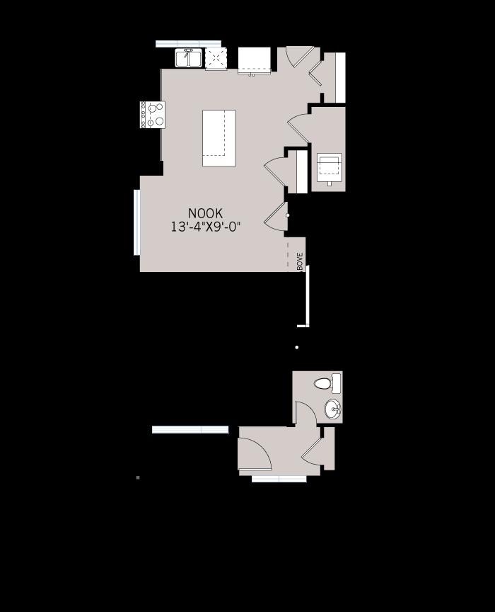 Base floorplan of The INDIGO 1 - Urban Prairie A3 - 1,525 sqft, 3 Bedroom, 2.5 Bathroom - Cardel Homes Calgary