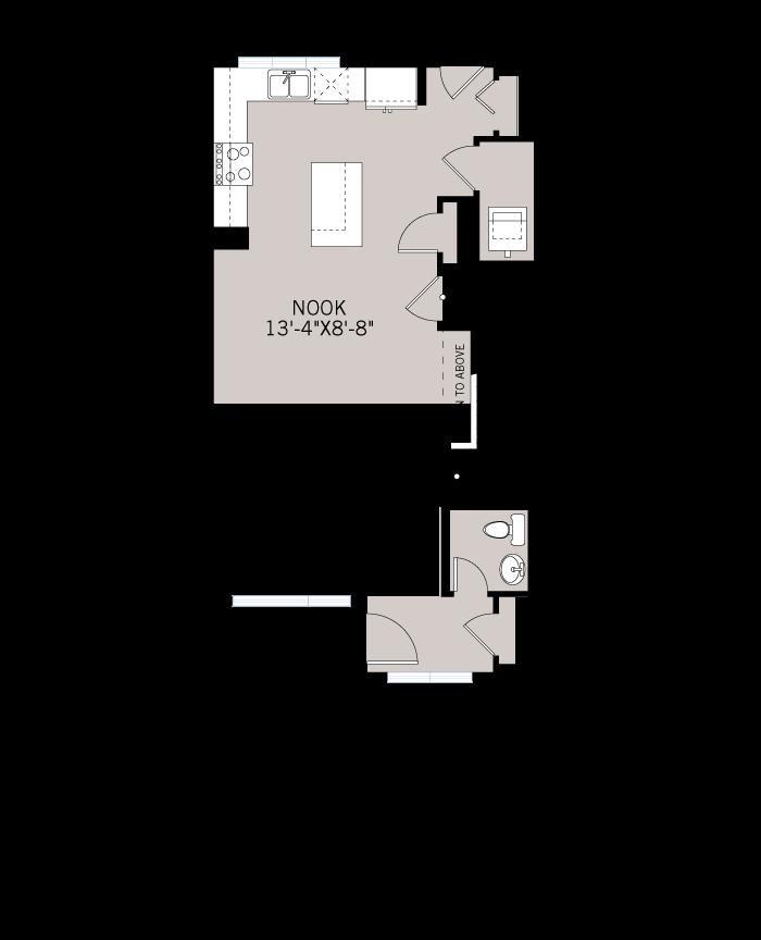 Base floorplan of The ETON - Urban Prairie A3 - 1,405 sqft, 3 Bedroom, 2.5 Bathroom - Cardel Homes Calgary