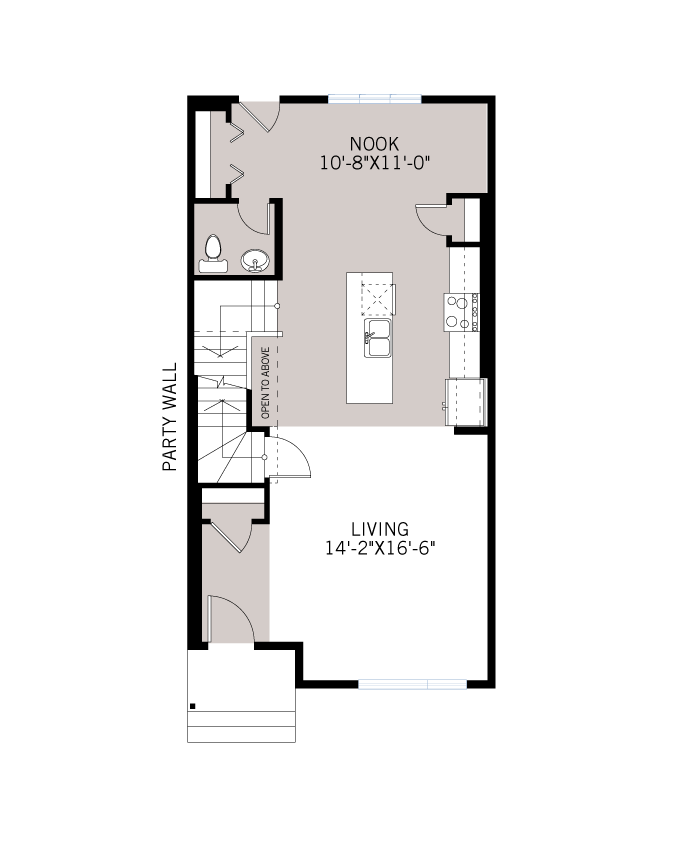 Base floorplan of The IRIS 1 - Urban Prairie A3 - 1,516 sqft, 3 Bedroom, 2.5 Bathroom - Cardel Homes Calgary