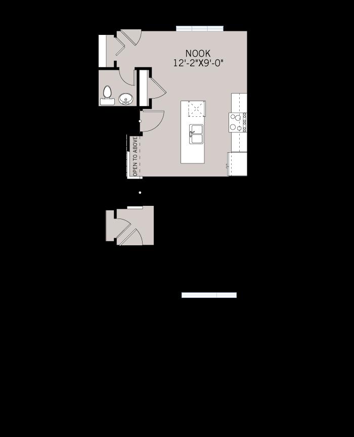 Base floorplan of The ETON - Urban Farmhouse A2 - 1,333 sqft, 3 Bedroom, 2.5 Bathroom - Cardel Homes Calgary