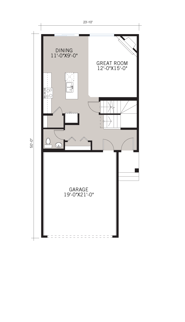 Base floorplan of Stanton 2 - Urban Prairie A3 - 1,662 sqft, 3 Bedroom, 2.5 Bathroom - Cardel Homes Calgary