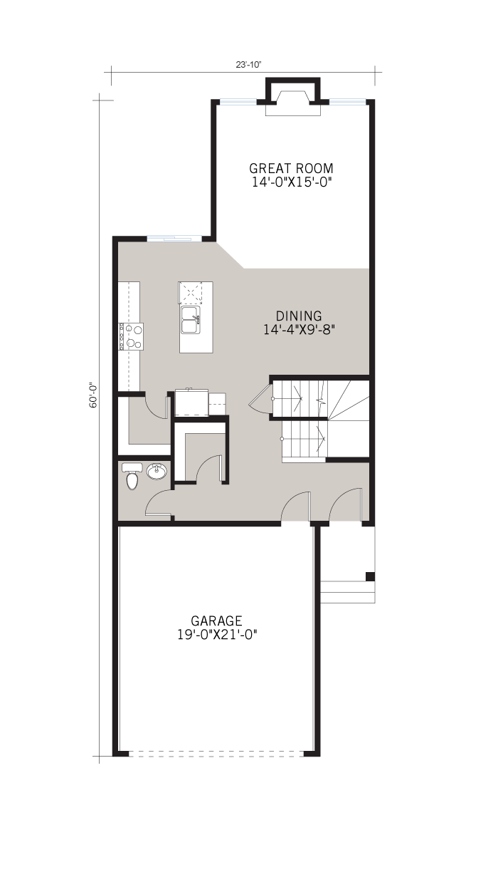 Base floorplan of Strand - Urban Prairie A2 - 1,903 sqft, 3 Bedroom, 2.5 Bathroom - Cardel Homes Calgary