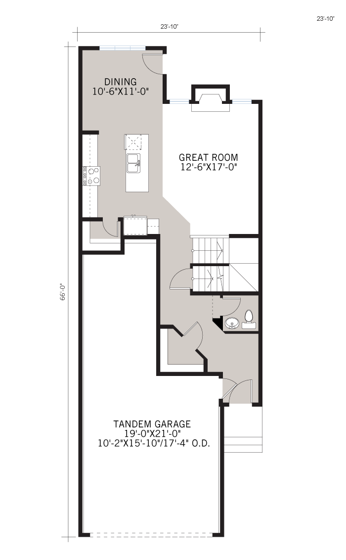 Base floorplan of Tandem Bay 4 - Urban Prairie A2 - 2,008 sqft, 3 Bedroom, 2.5 Bathroom - Cardel Homes Calgary