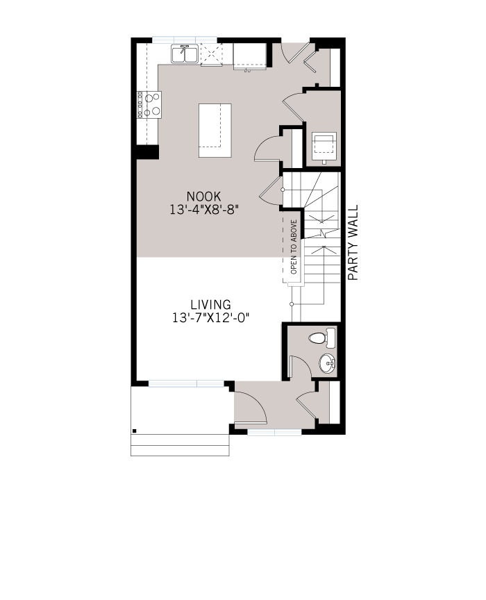 Base floorplan of WP-ETON - Fusion Crafstman F4 - 1,405 sqft, 3 Bedroom, 2.5 Bathroom - Cardel Homes Calgary
