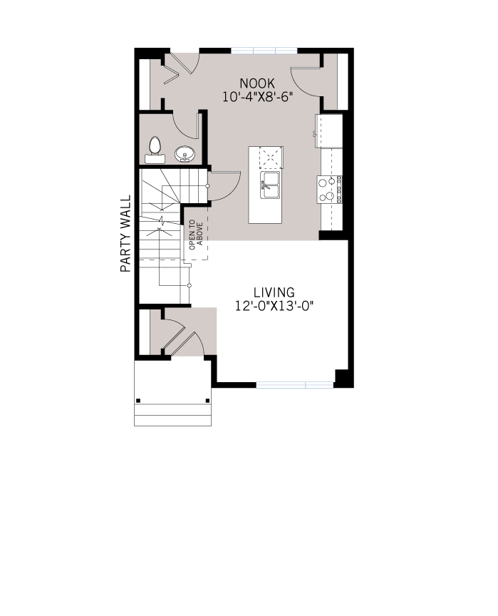 Base floorplan of WP-SOHO 1 - Modern Prairie F3 - 1,214 sqft, 3 Bedroom, 2.5 Bathroom - Cardel Homes Calgary