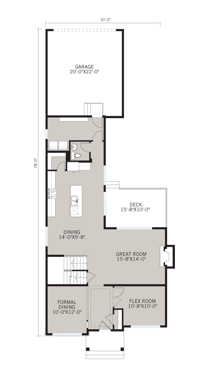 Base floorplan of IVEY COURT-SP2016 - Shingle S1 - 2,668 sqft, 3 Bedroom, 2.5 Bathroom - Cardel Homes Calgary