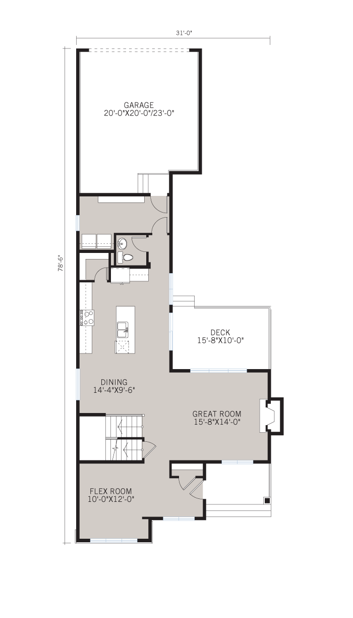 Base floorplan of FAIRFIELD COURT-SP2016 - Shingle S1 - 2,351 sqft, 3 Bedroom, 2.5 Bathroom - Cardel Homes Calgary